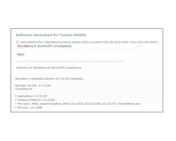 Official OS upgrade for the BlackBerry Storm 9500