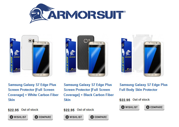 Accessories for the Samsung Galaxy Note 7 edge+ are listed online - Samsung Galaxy S7 edge+ accessories appear online