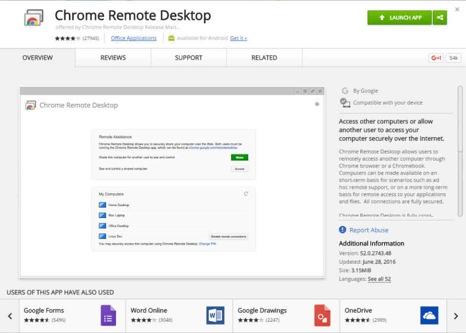 You'll need to download the Chrome Remote Desktop plugin from the Chrome Web Store - How to control your PC remotely using your smartphone or tablet (Android, iOS)
