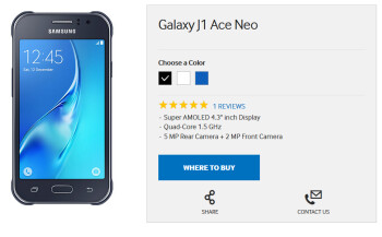 The entry-level Samsung Galaxy J1 Ace Neo appears on Samsung South Africa's website
