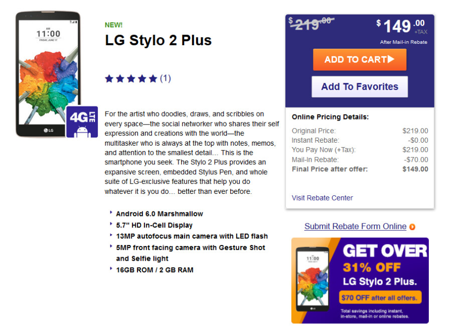 LG Stylo 2 Plus is available online from MetroPCS for $149 after a $70 mail-in rebate - LG Stylo 2 Plus arrives at the MetroPCS website priced at just $149 after rebate