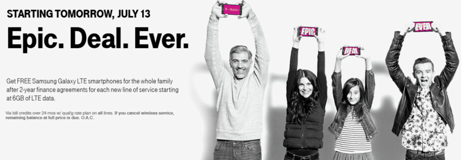 """Starting July 13th, T-Mobile is offering its self-proclaimed best deal ever. - T-Mobile's """"best deal ever"""" begins tomorrow; four lines, 6GB of data and four free phones for $120"""