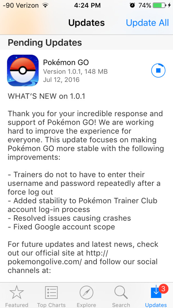 Version 1.0.1 of Pokemon Go has been released - Pokemon Go for iOS receives update to version 1.0.1; fixes privacy issue, improves stability, more