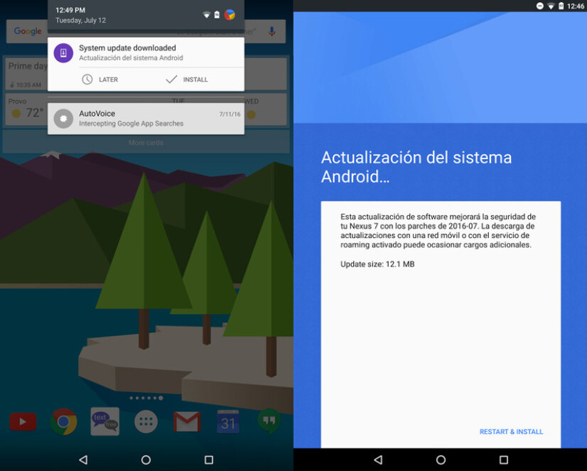 Receive a notification in Spanish for your Nexus 7 (2013