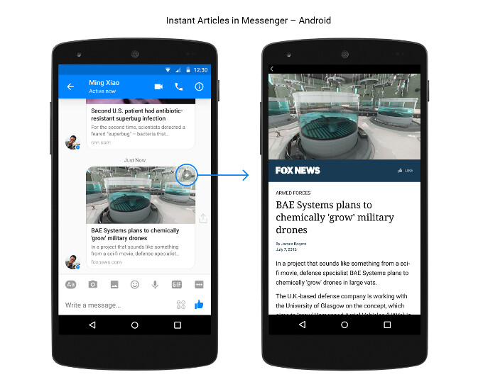 Facebook Messenger intros zippy Instant Articles preview within the Android chat app, iOS to follow