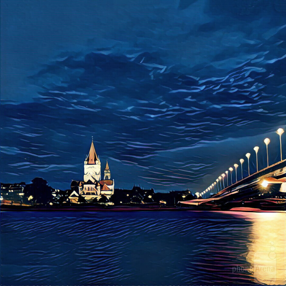 Prisma works well for night shots. Choose a well light subject and don't shoot in the middle of the night, you need some blues to contrast with the yellows. - Prisma: Turning mundane photos into beautiful works of art