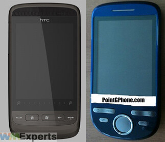 Mega (L), Click (R)-Images courtesy of WMExperts and PointGPhone - Two mid range handsets from HTC, the Mega and the Click, for quarter 4