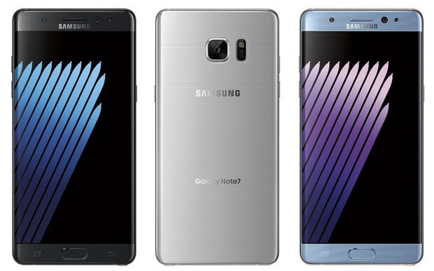 First leaked images have 'Galaxy Note7' rendered on the back, the new ones have just 'Samsung'  - Check out all sides of the Note 7 in blue, silver and gold, with color-coordinated S Pen to match
