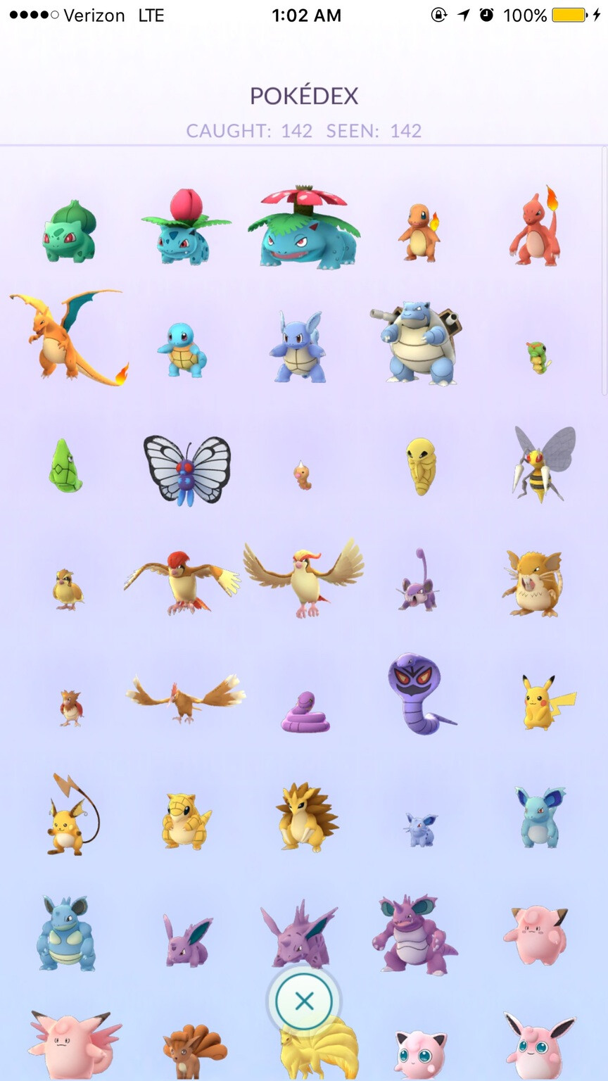 This is how the almost full Pokédex looks - Someone already caught all the 142 wild Pokémon roaming the U.S.