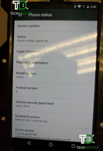A prototype of the HTC Nexus Marlin shows Android 7.0 pre-installed