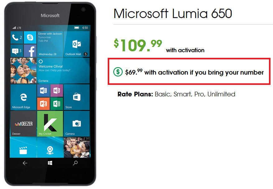 If you're a new Cricket Wireless customer, port your number over from your current carrier and pay $69.99 for the Lumia 650 - New to Cricket? Port over your number and save 36% on the Microsoft Lumia 650