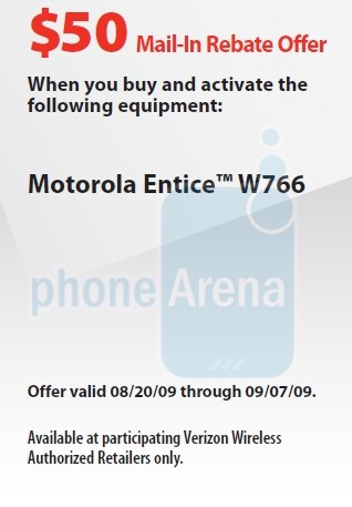 Motorola Entice W766 rebate form spotted for Verizon