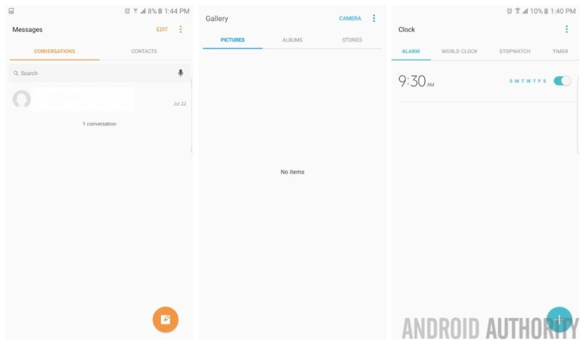 New stock app interfaces - Galaxy Note 7 iris scanner limitations disclaimer, Grace UX shown off in leaked screenshots