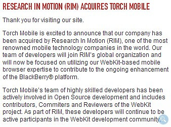 RIM acquires company that makes WebKit based Iris browser