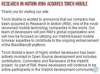 RIM acquires company that makes WebKit based Iris browser