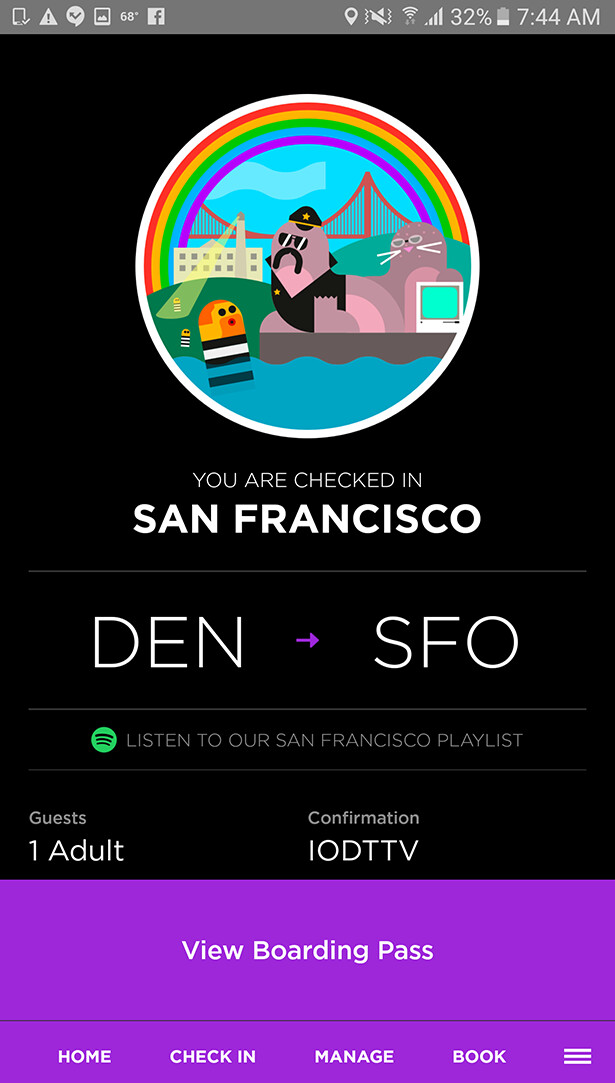 Screenshot showing the post check-in screen - Virgin America airlines app takes flight this summer, featuring booking and Spotify playlists