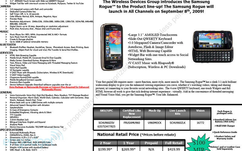 UPDATED: Official Samsung Rogue U960 Specifications, Release Date and Pricing