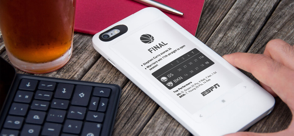 The popSLATE 2 adds a secondary e-ink display and battery pack to the iPhone 6 or 6s
