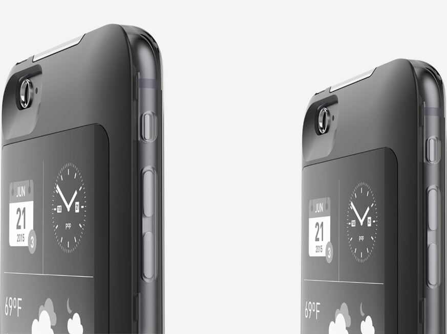 The popSLATE 2 case is available for the iPhone 6/6s Plus (left) and regular iPhone 6/6s (right) - The popSLATE 2 adds a secondary e-ink display and battery pack to the iPhone 6 or 6s