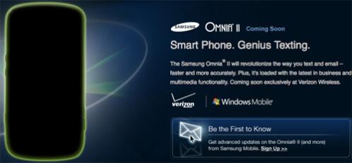 Silhouette of the Omnia II graces Samsung's web site
