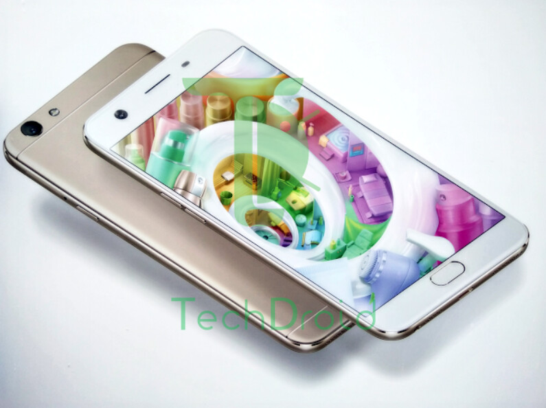 Render of the Oppo F1s with its 16MP front-facing camera - Oppo F1s render appears, includes the 16MP selfie snapper