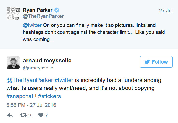 """Some Twitter subscribers are not impressed with the new stickers available to them""""&nbsp - Twitter now offers stickers for subscribers to use on pictures"""