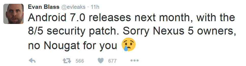 Tweet from Evan Blass says to expect Android 7.0 to be unveiled next month