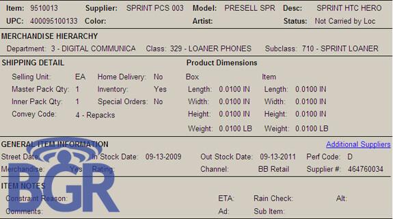Best Buy to presell Sprint's HTC Hero starting September 13th?