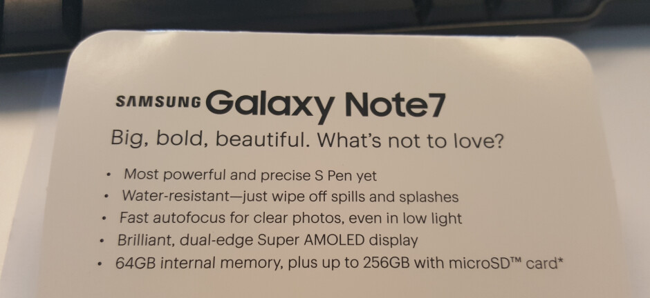"Sprint planogram for the Samsung Galaxy Note 7 reveals some information about the phablet - Sprint planogram calls Samsung Galaxy Note 7 ""big, bold, beautiful,"" reveals several features"