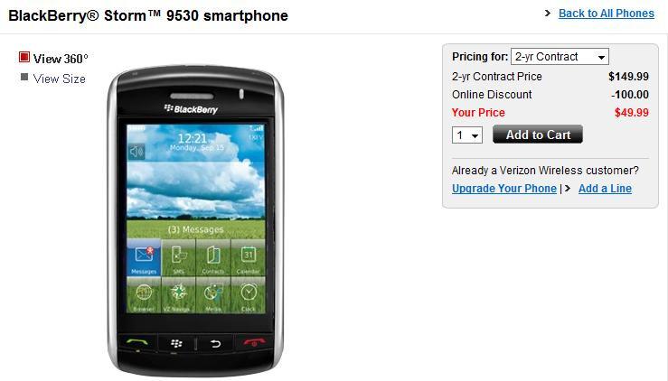Verizon cuts pricing on BlackBerry Storm to $49.99