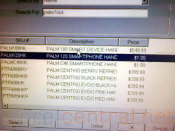 Sprint's inventory system shows the Palm P120 and C40