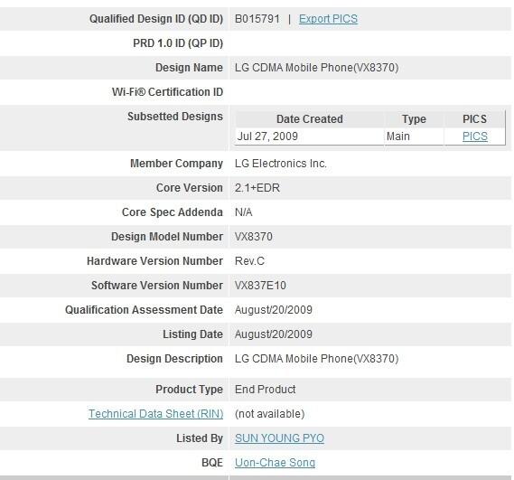 Verizon to pickup the LG VX8370 sometime next year