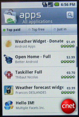 Pictures of the new version of Android market leak on the Internet