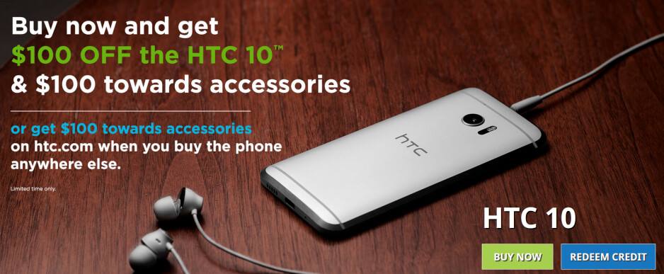 From now through August 7th, you can save $100 on the HTC 10 - Take $100 off the HTC 10 from HTC's online store