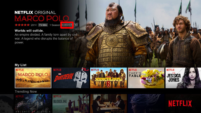 Macro Polo on Netflix with the Dolby Vision indicator icon. Note that Dolby Vision, while a different and proprietary standard, implies HDR10 compatibility as well. - The Note 7 is the first smartphone with HDR10-compliant display and this is why you should care