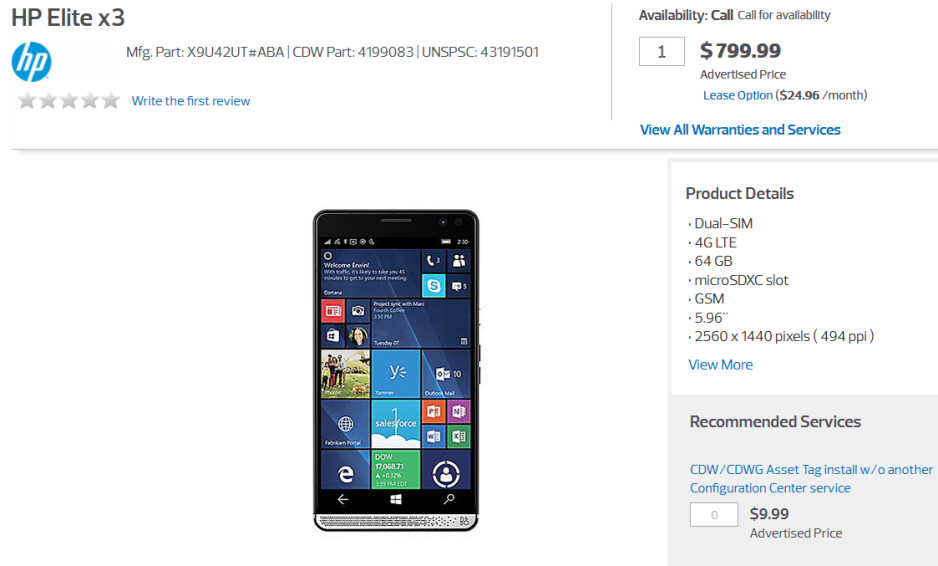 Pre-order the high-end HP Elite x3 from CDW starting today - Windows 10 Mobile beast HP Elite x3 available for pre-orders at CDW