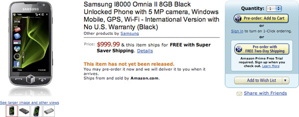 Samsung Omnia II available for Pre-Order at Amazon for 1 cent shy of a Grand