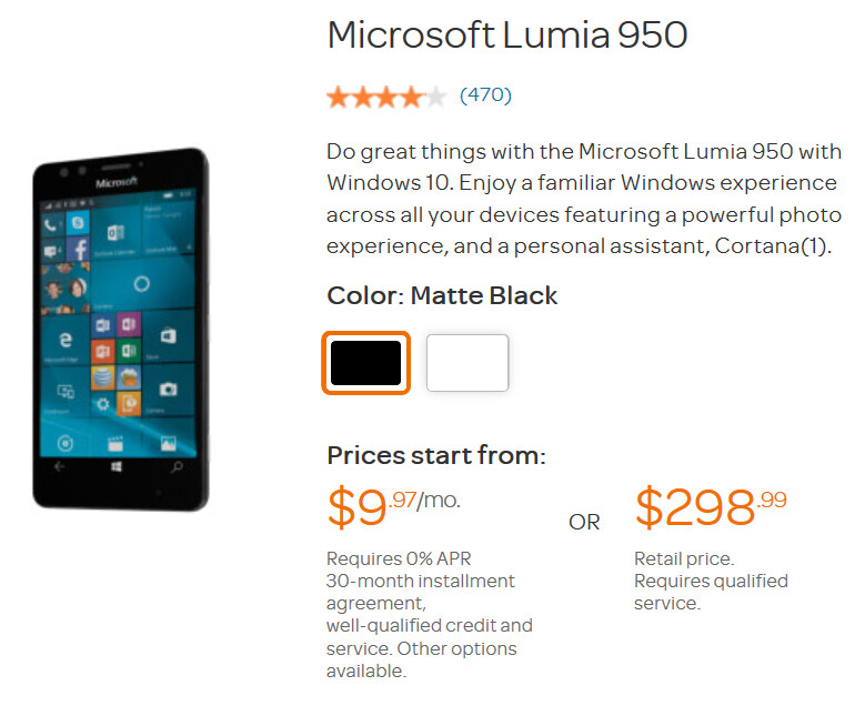 The Microsoft Lumia is priced under $300 off contract at AT&T - Snag the Microsoft Lumia 950 from AT&T for under $300