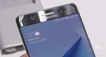 On the Galaxy Note 7, from left to right, we see a near-IR LED light, the regular front-facing cam, and the dedicated iris-scanning camera