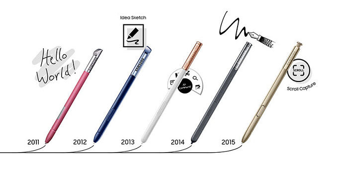 Note the progress: the evolution of the Samsung S Pen from the original phablet to the Note 7