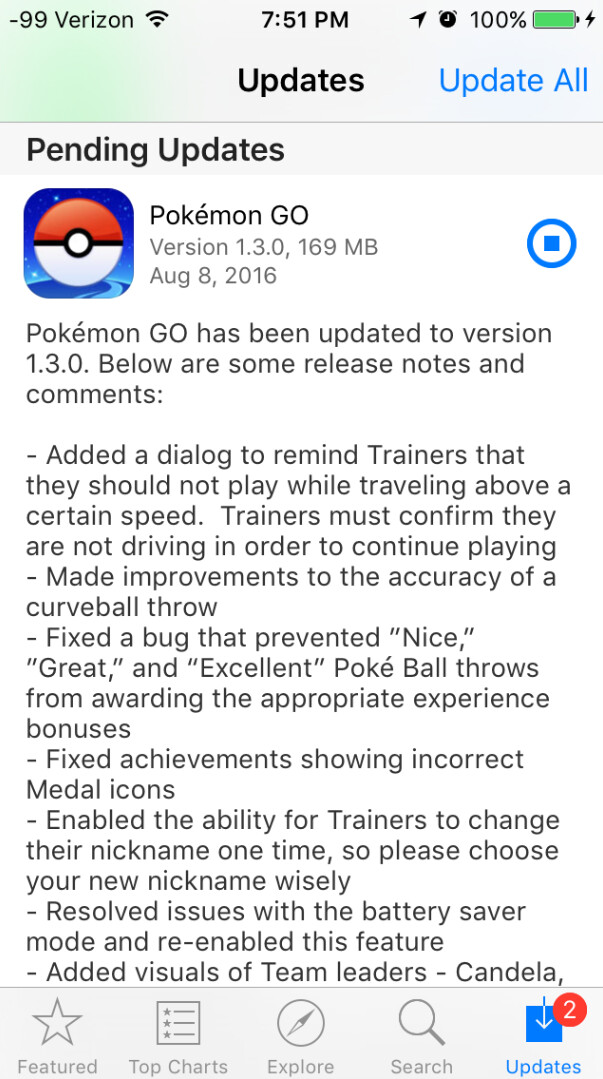 Pokemon Go for iOS and Android receives an update - Pokemon Go updated to version 1.3.0 on iOS, 0.33.0 on Android