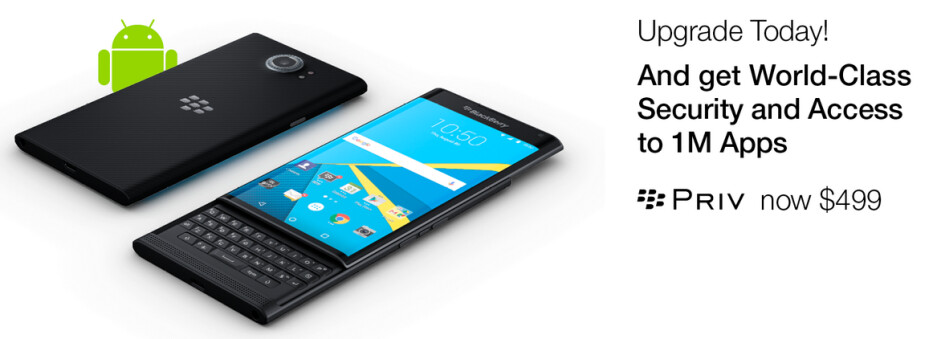 From now through the end of the month, save $150 or 23% on an unlocked Priv directly from BlackBerry - Save 23% or $150 on the BlackBerry Priv for the remainder of the month; phone now priced at $499 USD