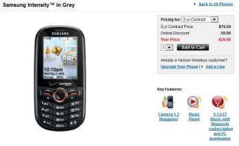 UPDATE: Samsung Intensity U450 now for sale through Verizon