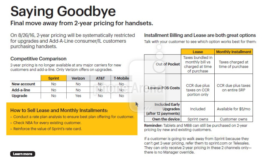 Leaked Sprint memo reveals that Sprint retail stores will no longer offer two-year contracts starting on August 26th - Sprint to end two-year contracts inside retail stores on August 26th