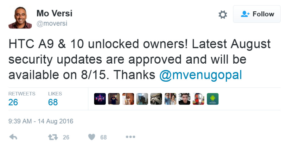 HTC executive Mo Versi spreads the word on the security update for the HTC One A9 and HTC 10 - August security update is pushed out for the unlocked HTC One A9, HTC 10