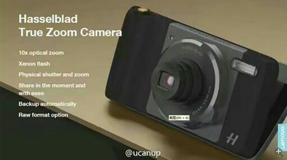 Despite the low image quality, the Hasselblad logo is visible in this photo, as well as the zoom dial - How the rumored Moto Mod camera module may work