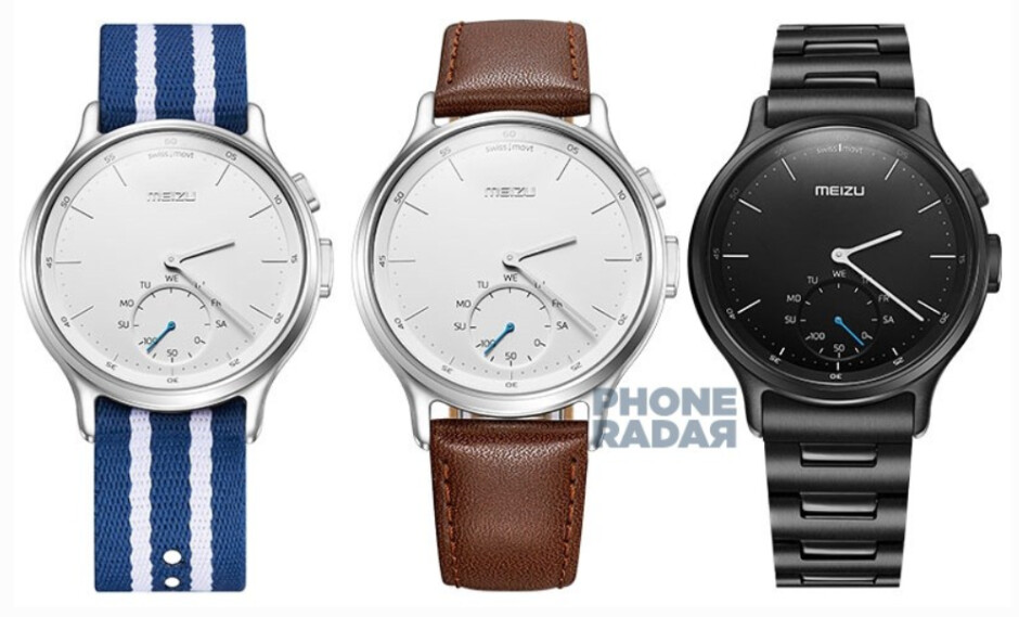 The Meizu Mix with a denim, leather and metal band from left to right - Image of the Meizu Mix smartwatch surfaces; YunOS powered smartwatch to be unveiled on September 3rd?