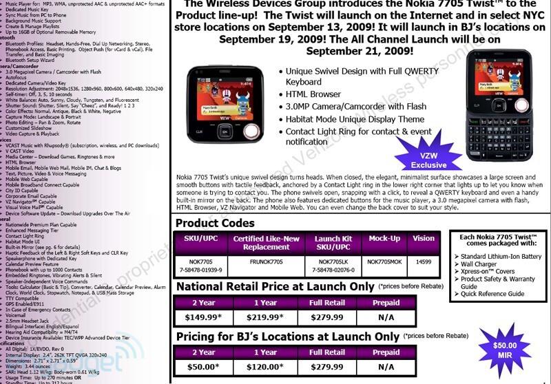 Nokia Twist 7705 coming to Verizon September 13
