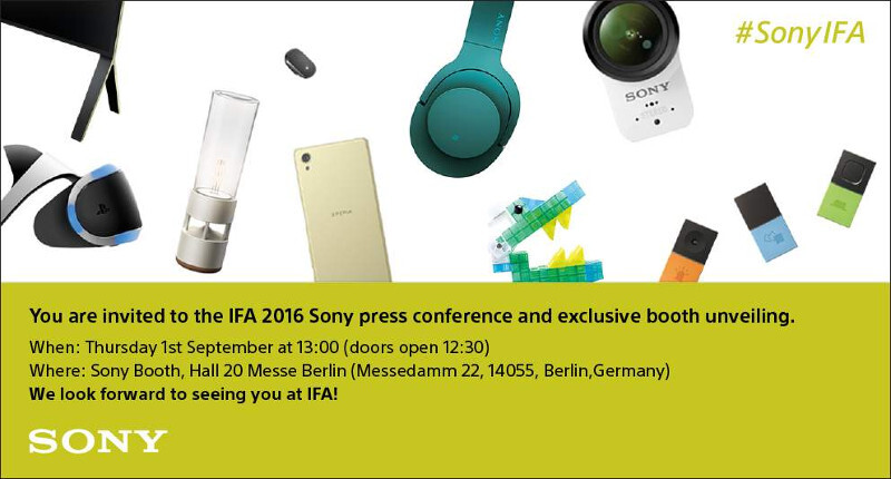 Sony sends out press invite for IFA 2016, hints towards a large and varied line-up