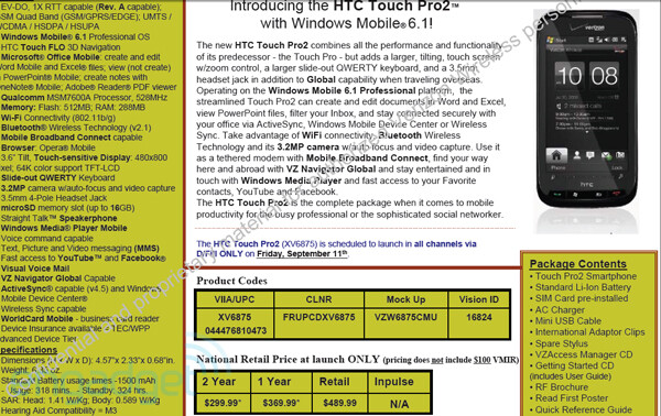 HTC Touch Pro2 confirmed for Verizon on September 11th